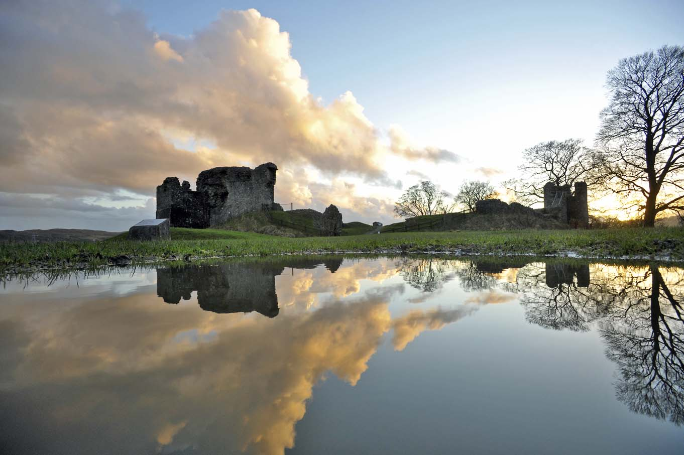 Kendal Castle, reflected in a puddle.