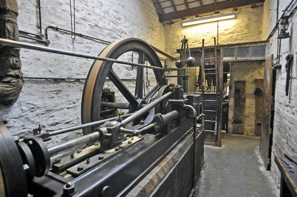 The old steam engine in Stott Park Bobbin Mill.