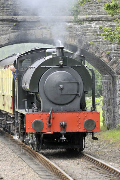 Steam engine 'Repulse' at Newby Bridge Halt on the Lakeside-Haverthwaite Railway.