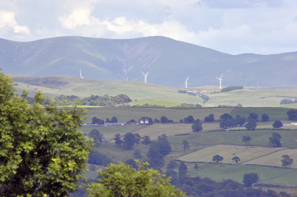 Distant view of Lambrigg Wind Turbines.